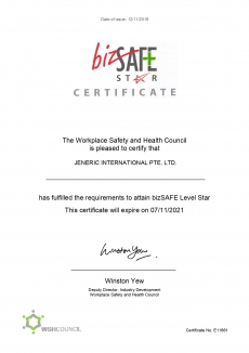 JENERIC INTERNATIONAL PTE LTD - BIZSAFE CERT