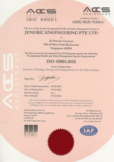 ISO 45001:2018 JENERIC ENGINEERING PTE LTD