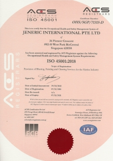 ISO 45001:2018 JENERIC INTERNATIONAL PTE LTD