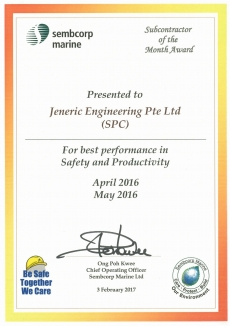 JE Subcontractor of the Month Award